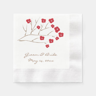 Cherry Blossoms in Red Wedding Disposable Serviette