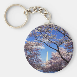 Cherry Blossoms in Washington D.C. Basic Round Button Key Ring