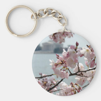 Cherry Blossoms in Washington DC Basic Round Button Key Ring