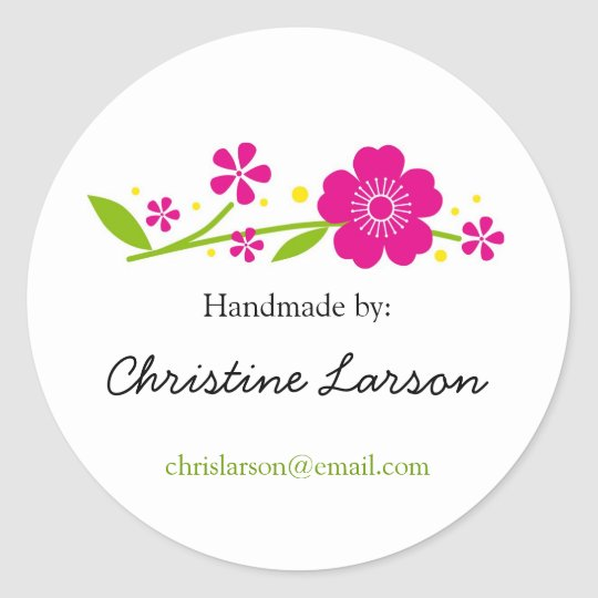 Cherry Blossoms Labels for Handmade items Round Sticker