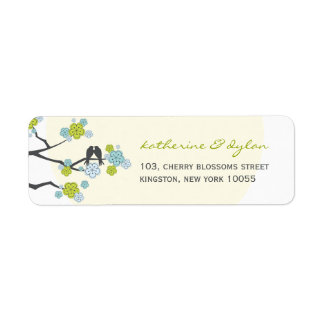 Cherry Blossoms Love Birds Wedding Address Labels