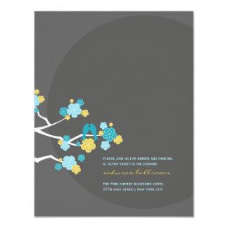 Cherry Blossoms Love Birds Wedding Reception Card