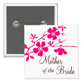 Cherry Blossoms Mother of the Bride Button