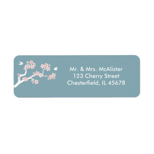 Cherry Blossoms on blue address label