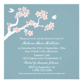 Cherry Blossoms on blue Bridal Shower Invite