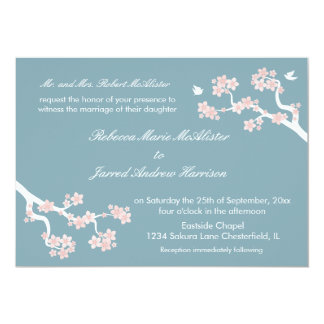 Cherry Blossoms on blue Landscape Invite