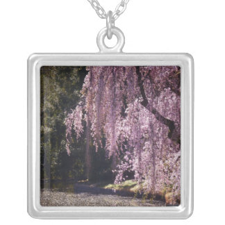Cherry Blossoms On Trees Over Water Square Pendant Necklace