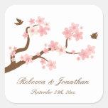 Cherry Blossoms on white square sticker