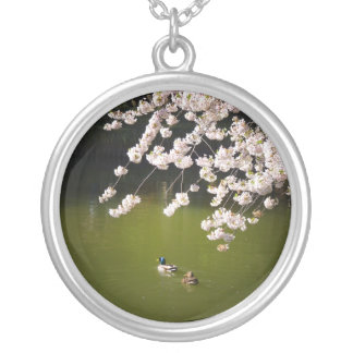 Cherry Blossoms Over A Pond With Ducks, NYC Round Pendant Necklace