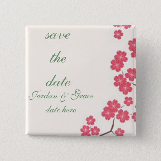Cherry Blossoms Pink 15 Cm Square Badge