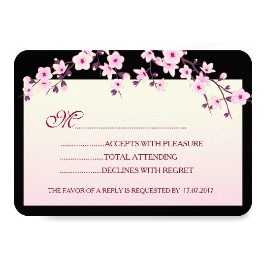 Cherry Blossoms Pink Black Birthday RSVP Card