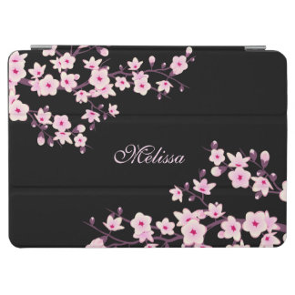 Cherry Blossoms Pink Black Floral Monogram iPad Air Cover