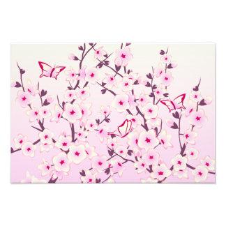 Cherry Blossoms Pink Floral Butterflies Art Photo