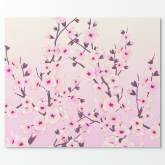 Cherry Blossoms Pink Floral Gift Wrap