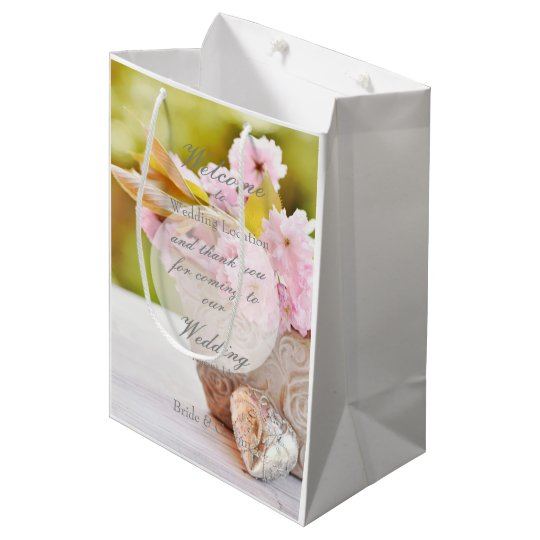Cherry Blossoms-Pink Flowers Wedding Medium Gift Bag