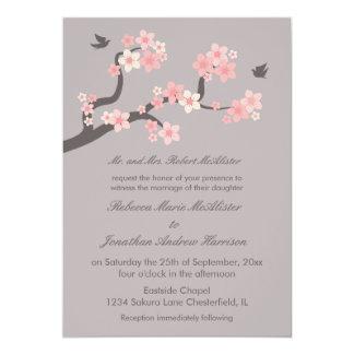 "Cherry Blossoms Pink/Grey Wedding Invitation 5"" X 7"" Invitation Card"