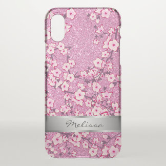 Cherry Blossoms Pink Monogram Clear Bling iPhone X Case