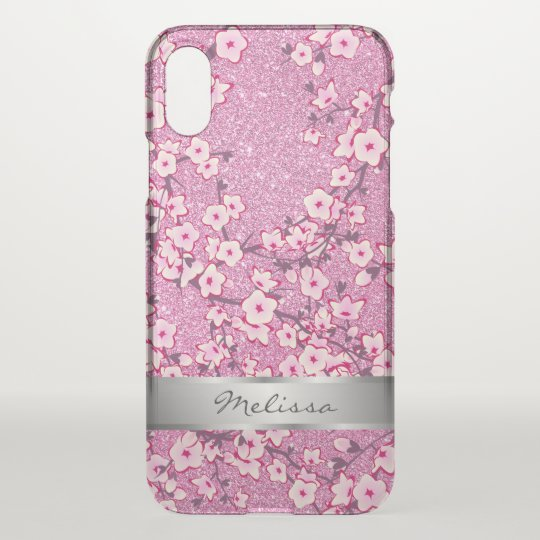 Cherry Blossoms Pink Monogram Clear Bling iPhone X
