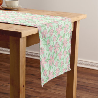 Cherry Blossoms Pink Sakura Bloom Spring Flowers Short Table Runner