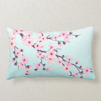 Cherry Blossoms Pink Turquoise Floral Lumbar Pillow