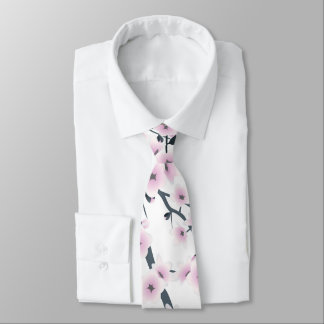 Cherry Blossoms Pink White Tie