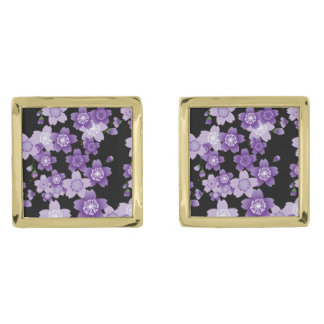 Cherry Blossoms Purple Sakura Gold Finish Cuff Links