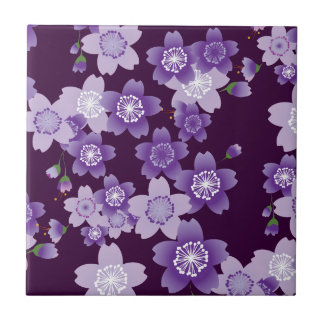 Cherry Blossoms Purple Sakura Small Square Tile