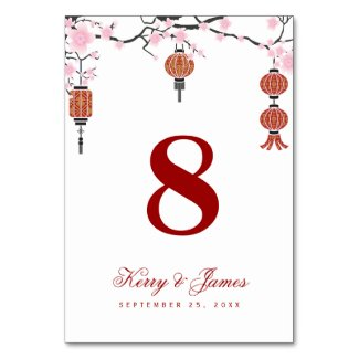 Cherry blossoms & Red Lanterns | Table Card