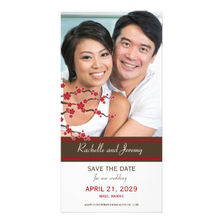 Cherry Blossoms Red Sakura Asian Save The Date Picture Card