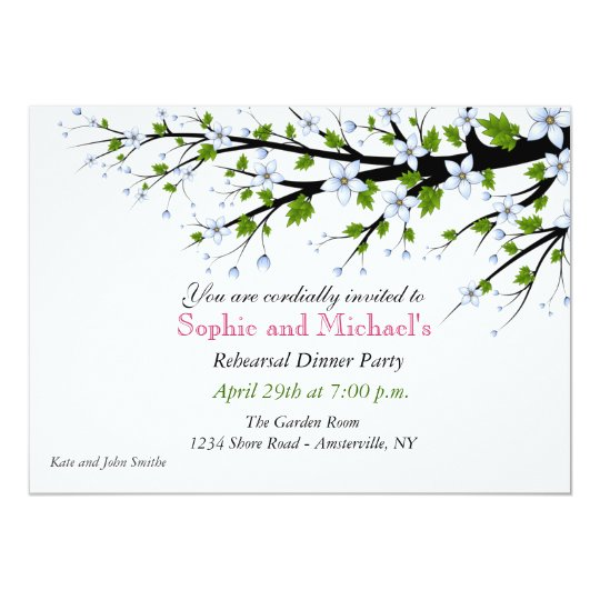 Cherry Blossoms Rehearsal Dinner Party Invitation