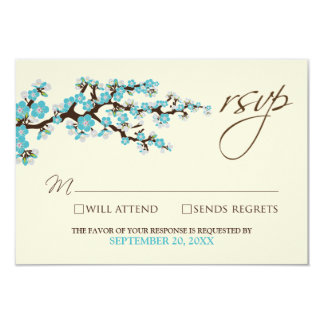 Cherry Blossoms RSVP Card (aqua) 9 Cm X 13 Cm Invitation Card