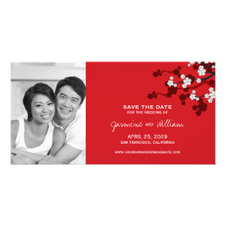 Cherry Blossoms Sakura Chinese Red Save The Date Personalised Photo Card
