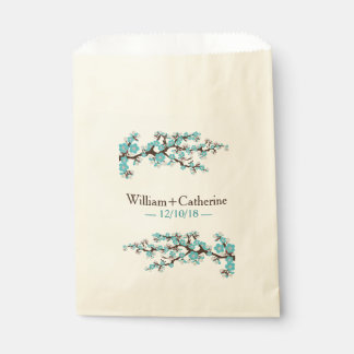 Cherry Blossoms Sakura Floral Favor Bag | Aqua