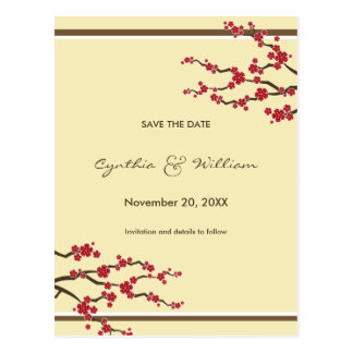 Cherry Blossoms Sakura Flowers Tree Save The Date Postcard