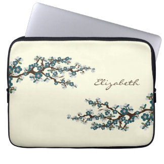 Cherry Blossoms Sakura Laptop Sleeve (teal)