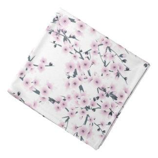 Cherry Blossoms Sakura Pink White Pattern Bandana