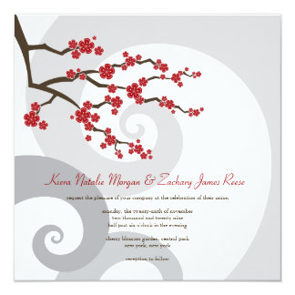Cherry Blossoms Sakura Swirls Asian Wedding Invite
