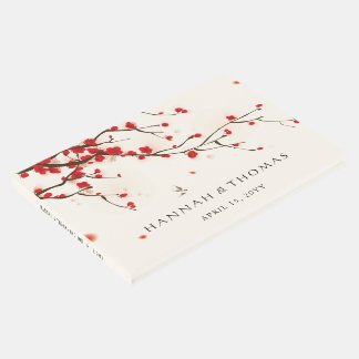 Cherry Blossoms (Sakura) Watercolor Floral Wedding Guest Book