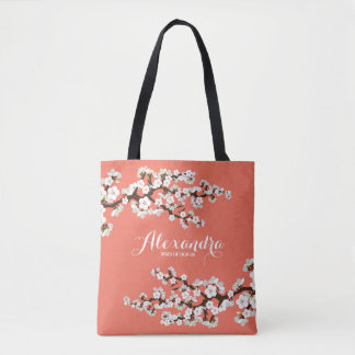 Cherry Blossoms Sakura Wedding Party Tote (coral)