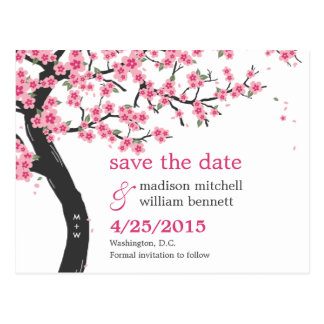 Cherry Blossoms Save The Date Postcard