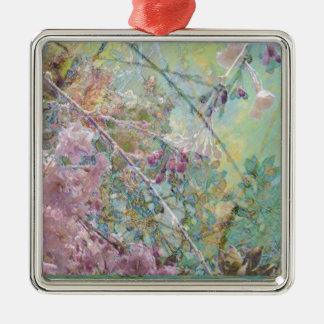 Cherry Blossoms Silver-Colored Square Decoration