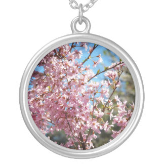 Cherry Blossoms Together On Branches Round Pendant Necklace
