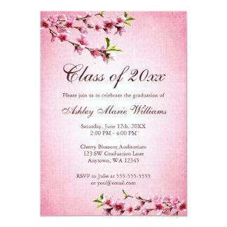 Cherry Blossoms Vintage Pink Graduation 13 Cm X 18 Cm Invitation Card