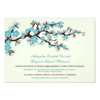 Cherry Blossoms Wedding Invitation (aqua)