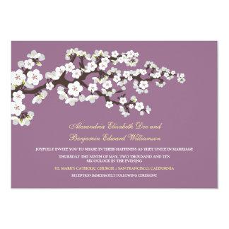 """Cherry Blossoms Wedding Invitation (lavender) 5"""" X 7"""" Invitation Card"""