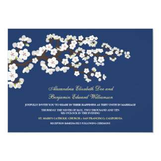 Cherry Blossoms Wedding Invitation (navy blue)