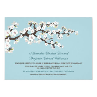 Cherry Blossoms Wedding Invitation (powder blue)