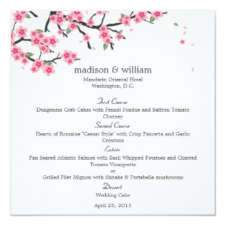 Cherry Blossoms Wedding Menu Card 13 Cm X 13 Cm Square Invitation Card