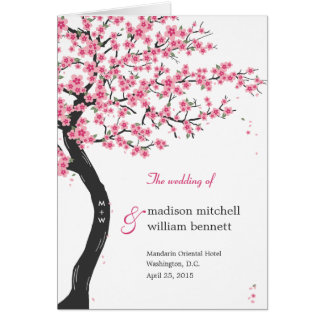 Cherry Blossoms Wedding Program Card