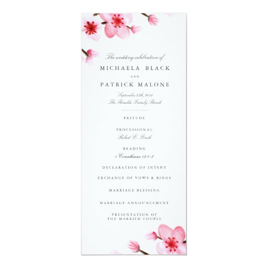 Cherry Blossoms Wedding Programs